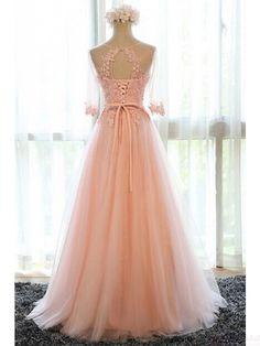 Beautiful Applique Lace A Line  Long Prom Dresses Evening  Dresses  #SIMIBridal #promdresses