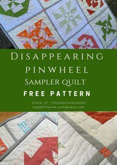 Disappearing pinwheel sampler quilt – free pattern