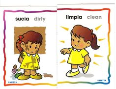 Opuesto para colorear - Imagui Elementary Spanish, Spanish Classroom, Teaching Spanish, Teaching English, Speech Activities, Toddler Learning Activities, Baby Learning, Speech Language Therapy, Speech And Language
