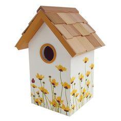 Home Bazaar Daisy Mounted Birdhouse Decorative Bird Houses, Bird Houses Painted, Bird Houses Diy, Painted Boxes, Fairy Houses, Painted Birdhouses, Birdhouse Craft, Birdhouse Designs, House Painting