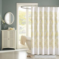 Shop for Madison Park Jalisco Cotton Shower Curtain. Get free delivery On EVERYTHING* Overstock - Your Online Shower Curtains & Accessories Store! Yellow Shower Curtains, Bathroom Shower Curtains, Fabric Shower Curtains, Cotton Curtains, Bath Shower, Cotton Fabric, Madison Park Shower Curtain, Bed And Beyond, Shower Tile Designs