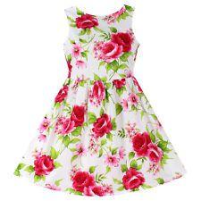 New Girls Dresses Flower Print Cotton Party Princess Cute Child Clothes Size 6