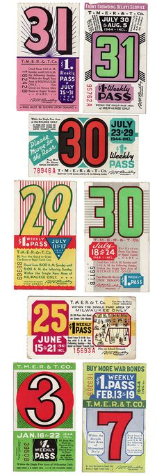 Vintage bus passes from the 1930's & 1940's