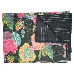 Cotton kantha-print throw in black with a floral motif.   Product: ThrowConstruction Material: Cotton...
