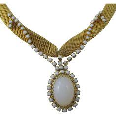 Hobe Mesh Opalescent Rhinestone Necklace and Bracelet Set