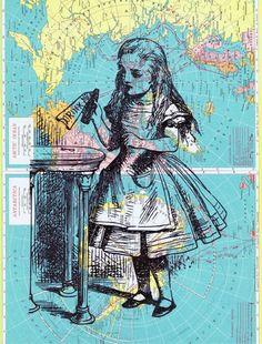 Map Art - Alice in Wonderland