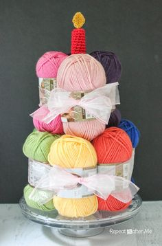 Repeat Crafter Me: Yarn Cake with a Crochet Candle. That should be my birthday cake every year! Ball Birthday, Birthday Gifts, Birthday Cake, Happy Birthday, Craft Gifts, Diy Gifts, Crochet Humor, Yarn Store, Yarn Bombing