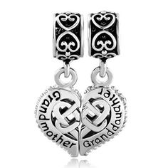 Puzzle Heart Love Grandmother Granddaughter Charms Dangle Jewelry Beads Fit Pandora Charm Bracelets