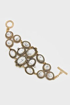 Reese Bracelet in White Marble   Women's Clothes, Casual Dresses, Fashion Earrings & Accessories   Emma Stine Limited