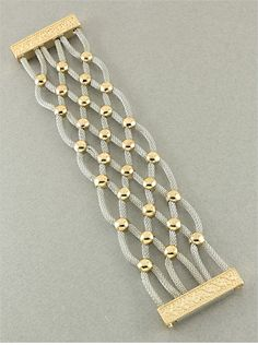 Silver and gold mesh bracelet