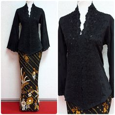 "Here is Kebaya Karla II in black. Available in L and XL size (best for bust 38"" and 40""). Limited quantity. Purchase at www.empireofelegance.com.my Kebaya Lace, Kebaya Dress, Batik Kebaya, Batik Dress, Model Kebaya Brokat Modern, Kebaya Modern Hijab, Kebaya Hijab, Batik Fashion, Hijab Fashion"