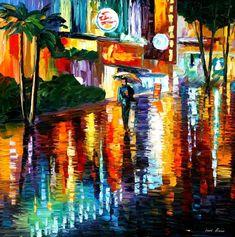 MIAMI NIGHT - PALETTE KNIFE Oil Painting On Canvas By Leonid Afremov http://afremov.com/MIAMI-NIGHT-PALETTE-KNIFE-Oil-Painting-On-Canvas-By-Leonid-Afremov-Size-30-x30.html?bid=1&partner=20921&utm_medium=/vpin&utm_campaign=v-ADD-YOUR&utm_source=s-vpin