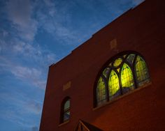 The stained glass at the Etz Chaim Synagogue on Congress Street.