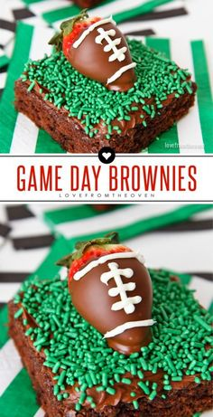 Easy Game Day Football Brownies With Chocolate Dipped Strawberries That Look Like Footballs! Great dessert idea for watching the Super Bowl. Football Brownies, Superbowl Desserts, Football Treats, Football Party Foods, Football Food, Football Parties, Tailgate Desserts, Tailgate Parties, Football Birthday