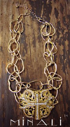 SOUTHERN CROSS - LAYERED GOLD AND VINTAGE CRYSTAL CROSS NECKLACE - MINALI™