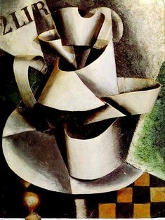 Liubov Popova - The Jug on the Table This is constructivism. Constructivism is more of a architectural art. This painting can relate to since their is more shapes involved rather than like humans. The jugs have many square and triangle shapes to it. Russian Painting, Russian Art, Russian Avant Garde, Avant Garde Artists, European Paintings, Collages, Art World, Picasso, Still Life