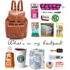 Did this myself on polyvore! Hope you like it! What's in my backpack.