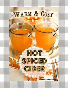 One of our favorite Fall/Winter drinks! Hot Spiced Tea Recipe, Hot Spiced Cider, Hot Apple Cider, Crockpot Apple Cider, Cider Bar, Christmas Drinks, Holiday Drinks, Holiday Foods, Warm And Cozy