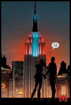 The Empire State Building, red and blue for Spider-Man (from Amazing Spider-Man #673)