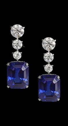 Natural Ceylon sapphire emerald-cut and diamond drop earrings