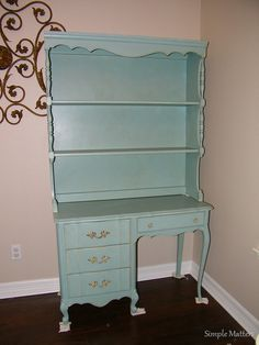 French Aqua Desk and Hutch