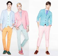 Love love love spring summer pastels — blue, yellow, green and pink are so wonderful / UNIQLO 2013 Spring Summer Mens Lifewear Collection. Dusty colors are huge this year.