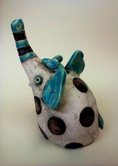 The Dots Elephant ceramic sculpture art sculpture clay Ceramic Monsters, Cerámica Ideas, Porcelain Dolls For Sale, Pottery Animals, Sculpture Clay, Ceramic Sculptures, Clay Figurine, Pinch Pots, Ceramics Projects