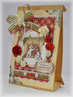 Decorated Christmas Bag - Hobby House Topper and Emblishments