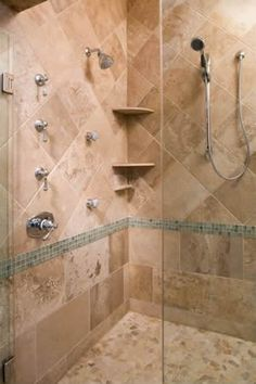 Create Photo Gallery For Website Shower body sprays hand wand corner shelves all accented with custom travertine tile