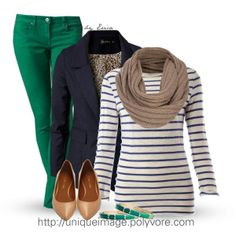 White and blue striped shirt with navy jacket, teal green skinny jeans, & ballet flats