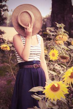 Summerdays # navy long high waist skirt # striped top # summer outfit