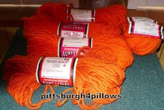 4 1/2 - Aunt Lydia's Rug Yarn - 1 Burnt Orange - 320  - 3 1/2 Tangerine -315 - See Description by pittsburgh4pillows on Etsy