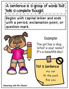 Teaching Grammar, Teaching Writing, Teaching Strategies, Types Of Sentences Worksheet, Grammar Worksheets, Grade 1, Second Grade, Parts Of A Sentence, Homographs