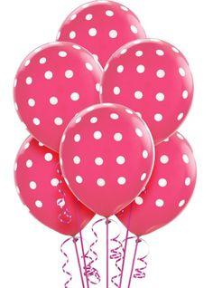 Latex Bright Pink Polka Dot Balloons - Party City