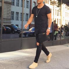 Black outfit with #tanned #chelseaboot by @kosta_williams [ http://ift.tt/1f8LY65 ] follow @marcosdeandradeofficial