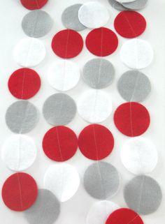Red Grey White Garland Felt Garland Red Nursery by heartFeltbyA, $7.00