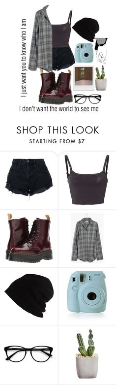 """""""When everything's meant to be broken, I just want you to know who I am"""" by xxbandbabexx ❤ liked on Polyvore featuring Nobody Denim, Rachel Comey, Dr. Martens, Madewell, SCHA, Fujifilm, Impossible Project and EyeBuyDirect.com"""
