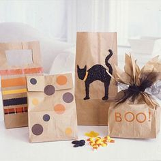 Spark some excitement early with these kid-friendly craft projects Halloween treat bags Bonbon Halloween, Halloween Goodie Bags, Fröhliches Halloween, Halloween Birthday, Holidays Halloween, Halloween Treats, Birthday Kids, Halloween Taschen, Homemade Halloween Decorations