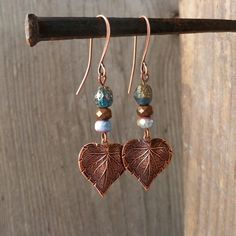 Boho Copper Earrings – Boho Copper Jewelry – Leaf Earrings – Dangle Earrings – Boho Jewelry – Women's Earrings – Burnished Blue – Earrings 2020 Copper Earrings, Round Earrings, Etsy Earrings, Beaded Earrings, Women's Earrings, Gemstone Earrings, Leaf Jewelry, Copper Jewelry, Boho Jewelry