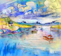 Scotland 26. Artist:Miki De Goodaboom. Medium:Painting - Watercolour And Ink. i love the clouds, and the colors in the sky and on the shore