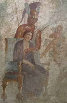 Vénus et Mars, peinture murale dans la maison de l'amour (Pompéi), photo : André Larané, Herodote.net