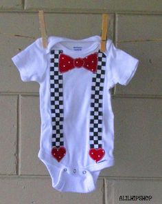 Polka Dot Bow Tie Suspenders And Hearts Onesie by alilhipshop, $12.50
