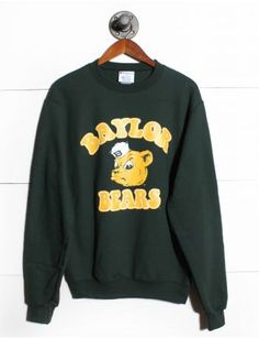 Baylor Color Sweatshirt Source by Sweatshirts Outfits For Teens, Trendy Outfits, Earl Sweatshirt, T Shirt World, College Hoodies, T Shirt And Shorts, Direct To Garment Printer, Sweater Weather, Shirt Designs