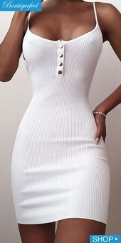 Spaghetti Strap Ribbed Buttoned Bodycon Dress - Spaghetti Strap Ribbed Buttoned Bodycon Dress Source by - Source by forwomenshopf Dresses Tight Dresses, Sexy Dresses, Cute Dresses, Short Dresses, Fashion Dresses, Summer Dresses, Formal Dresses, Wrap Dresses, Sweater Dresses