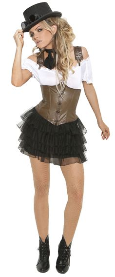 The elegance of neo-Victorian design has been highlighted with elements of Industrial fashion in our sexy Steampunk Racy Rose Adult Costume. Bring some edge and a fighting attitude that will not back down in a dystopian world with this miner chic style. Our women's Steampunk Racy Rose Costume includes a white off-the-shoulder peasant-style blouse, brown faux leather corset featuring hook-and-eye front closure and suspenders with metal clips and a black mini petticoat skirt with tiered layers…
