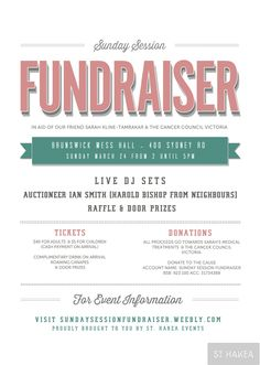 Sunday Session Fundraiser event flyer. Proudly bought to you by St. Hakea Events sthakea.com