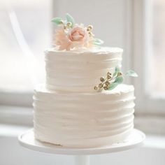 White Rustic Cake with touches of pint, aqua and gold.  ᘡղbᘠ