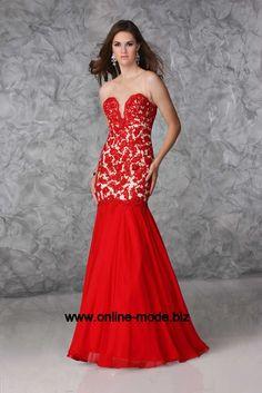 Fishtail Linie Abendkleid Bodenlang in Rot von www.online-mode.biz