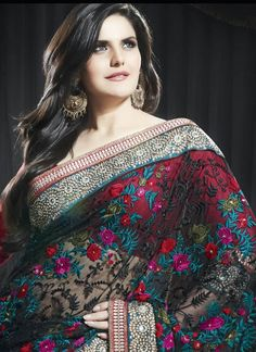 Net length with lots of work so its more subtly and less see through :) perfect for any shy gals out there :) Black Net Designer Saree Zarine Collection Bollywood Dress, Indian Bollywood, Bollywood Fashion, Beautiful Saree, Beautiful Dresses, Zarine Khan, Indian Sarees Online, Latest Designer Sarees, Bridal Lehenga Choli