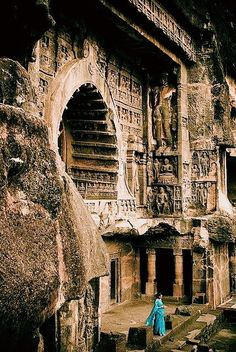 Ellora also known as Ellooru, is an archaeological site, 29 km mi) North-West of the city of Aurangabad in the Indian state of Maharashtra built by the Rashtrakuta dynasty. Well known for its monumental caves, Ellora is a World Heritage Site. Places Around The World, Oh The Places You'll Go, Places To Travel, Places To Visit, Around The Worlds, Travel Destinations, Vacation Travel, Vacation Rentals, Ancient Architecture